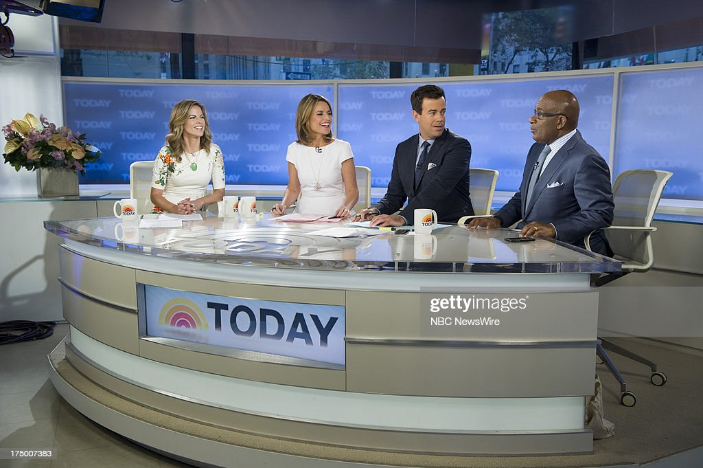 NBC News' <a gi-track='captionPersonalityLinkClicked' href=/galleries/search?phrase=Natalie+Morales+-+News+Anchor&family=editorial&specificpeople=710956 ng-click='$event.stopPropagation()'>Natalie Morales</a>, <a gi-track='captionPersonalityLinkClicked' href=/galleries/search?phrase=Savannah+Guthrie&family=editorial&specificpeople=653313 ng-click='$event.stopPropagation()'>Savannah Guthrie</a>, <a gi-track='captionPersonalityLinkClicked' href=/galleries/search?phrase=Carson+Daly&family=editorial&specificpeople=202941 ng-click='$event.stopPropagation()'>Carson Daly</a>, and <a gi-track='captionPersonalityLinkClicked' href=/galleries/search?phrase=Al+Roker&family=editorial&specificpeople=206153 ng-click='$event.stopPropagation()'>Al Roker</a> appear on NBC News' Today show on July 29, 2013 --