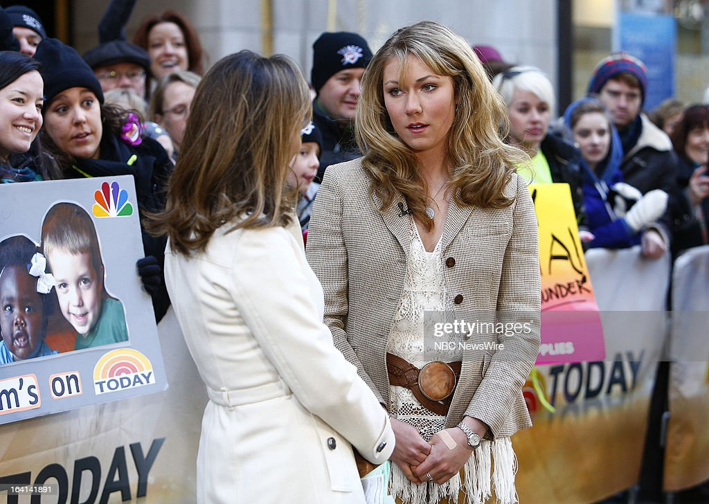 NBC News' Natalie Morales, skiier Mikaela Shiffrin appears on NBC News' 'Today' show on March 20, 2013 --