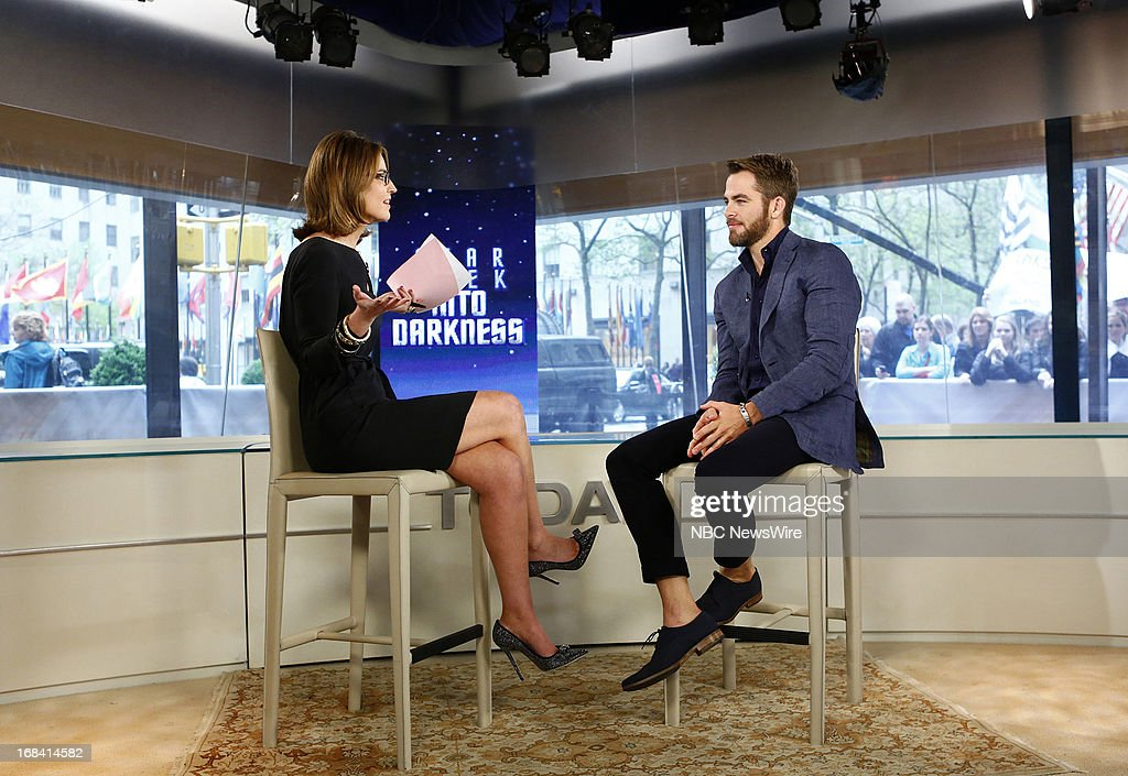 NBC News' Savannah Guthrie and actor Chris Pine appear on NBC News' 'Today' show on May 9, 2013 --