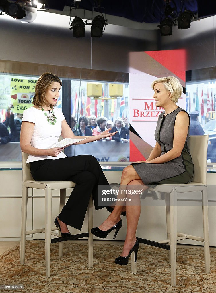 NBC News' <a gi-track='captionPersonalityLinkClicked' href=/galleries/search?phrase=Savannah+Guthrie&family=editorial&specificpeople=653313 ng-click='$event.stopPropagation()'>Savannah Guthrie</a> and MSNBC's Mika Brzezinski appear on NBC News' 'Today' show on May 6, 2013 --