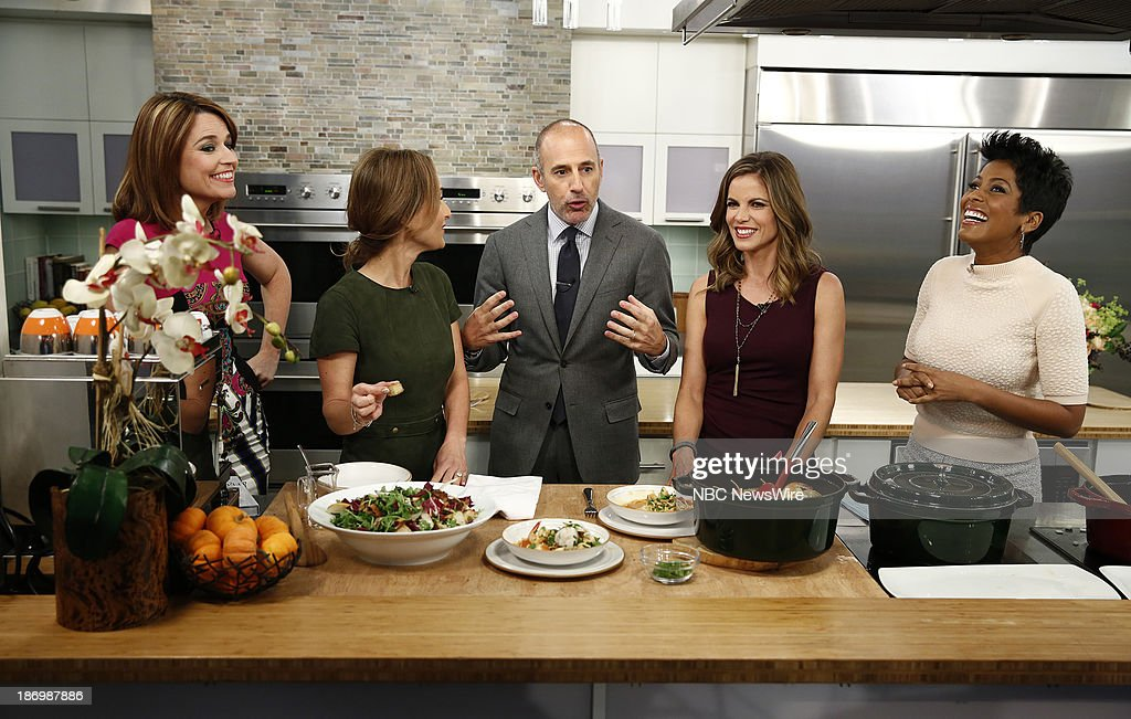 NBC News' <a gi-track='captionPersonalityLinkClicked' href=/galleries/search?phrase=Savannah+Guthrie&family=editorial&specificpeople=653313 ng-click='$event.stopPropagation()'>Savannah Guthrie</a>, chef Giada de Laurentiis, NBC News' <a gi-track='captionPersonalityLinkClicked' href=/galleries/search?phrase=Matt+Lauer&family=editorial&specificpeople=206146 ng-click='$event.stopPropagation()'>Matt Lauer</a>, <a gi-track='captionPersonalityLinkClicked' href=/galleries/search?phrase=Natalie+Morales+-+News+Anchor&family=editorial&specificpeople=710956 ng-click='$event.stopPropagation()'>Natalie Morales</a> and Tamron Hall appear on NBC News' 'Today' show on November 5, 2013 --