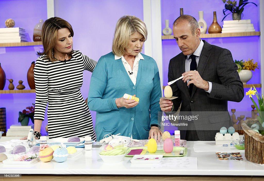NBC News' Savannah Guthrie, Martha Stewart and NBC News' Matt Lauer appear on NBC News' 'Today' show on March 21, 2013 --