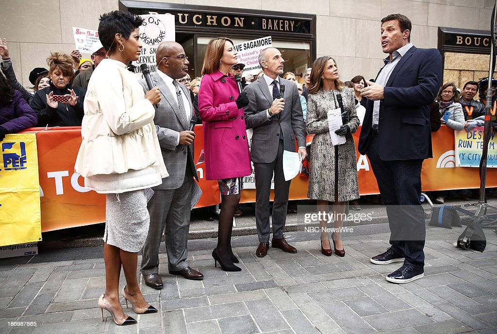 NBC News' Tamron Hall, <a gi-track='captionPersonalityLinkClicked' href=/galleries/search?phrase=Al+Roker&family=editorial&specificpeople=206153 ng-click='$event.stopPropagation()'>Al Roker</a>, <a gi-track='captionPersonalityLinkClicked' href=/galleries/search?phrase=Savannah+Guthrie&family=editorial&specificpeople=653313 ng-click='$event.stopPropagation()'>Savannah Guthrie</a>, <a gi-track='captionPersonalityLinkClicked' href=/galleries/search?phrase=Matt+Lauer&family=editorial&specificpeople=206146 ng-click='$event.stopPropagation()'>Matt Lauer</a>, <a gi-track='captionPersonalityLinkClicked' href=/galleries/search?phrase=Natalie+Morales+-+News+Anchor&family=editorial&specificpeople=710956 ng-click='$event.stopPropagation()'>Natalie Morales</a> and life coach/author Tony Robbins appear on NBC News' 'Today' show on November 5, 2013--