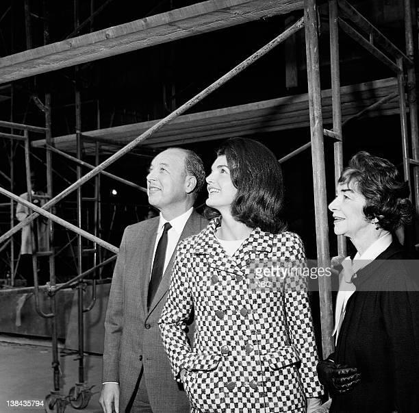 NBC President Robert Sarnoff and Jacqueline Kennedy touring the construction site of the Whitney Museum in New York City on October 21 1965