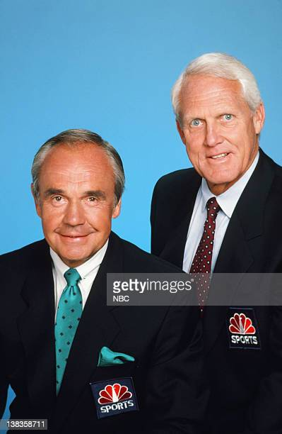 NBC Sports' announcers Dick Enberg Bill Walsh in 1989
