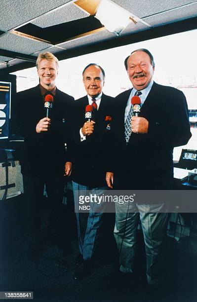 NBC Sports' announcers Phil Simms Dick Enberg Paul Maguire live at the Qualcomm Stadium in San Diego CA on january 25 1998