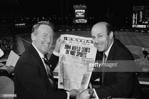 NBC Sports' announcers Vin Scully Joe Garagiola reading NBC headlines at Shea Stadium in Queens NY for the 1984 World Series promos on September 7...