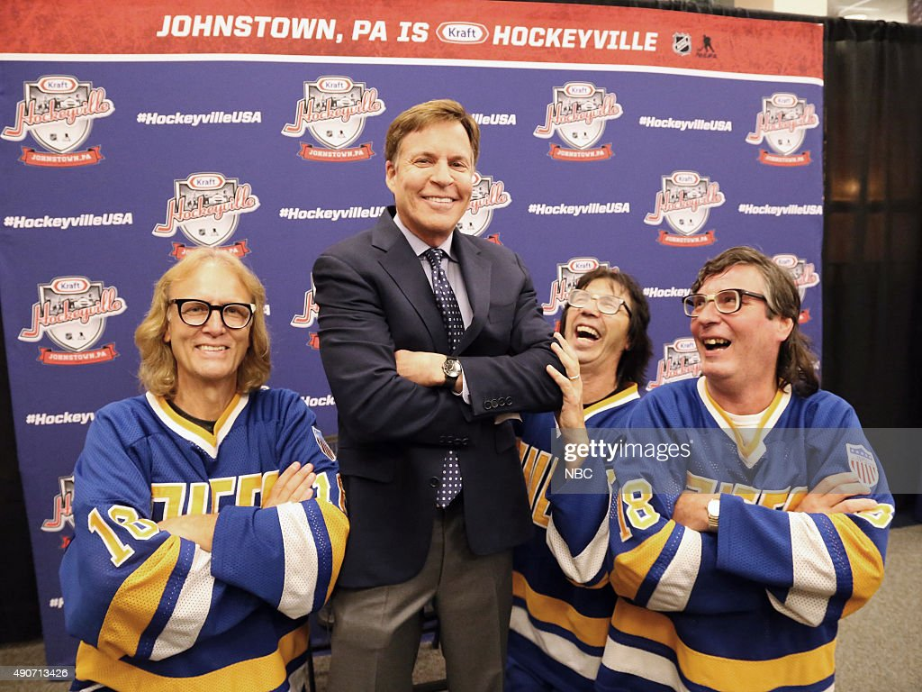 NBC Sports? Bob Costas with the Hanson Brothers from 'Slap Shot? - from left Jeff Carlson (Jeff Hanson), Bob Costas, Steve Carlson (Steve Hanson) and David Hanson (Jack Hanson) - during the Kraft Hockeyville, USA preseason game featuring the Tampa Bay Lightning and Pittsburgh Penguins. --