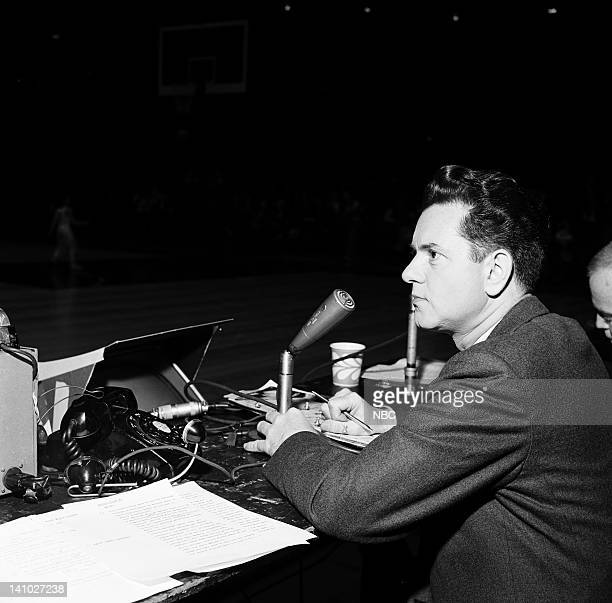 NBC Sports' Bob Wolff during the NIT semifinals at Madison Square Garden in New York NY on March 24 1962 Photo by Bob Ganley/NBC/NBCU Photo Bank