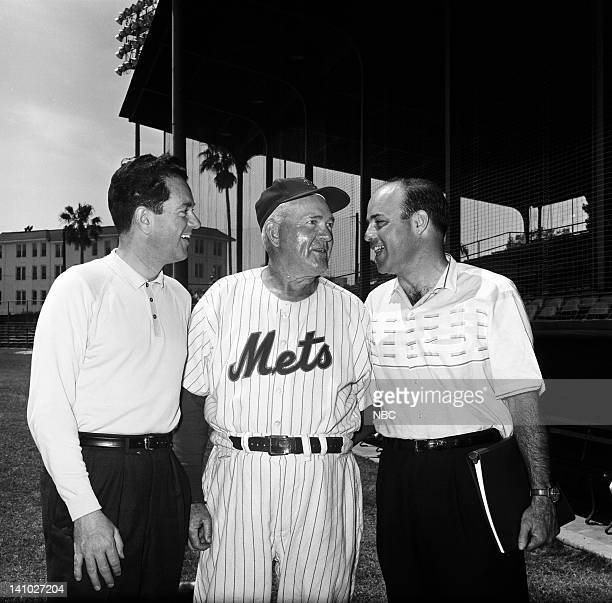 NBC Sports' Bob Wolff New York Mets' third base coach Roger Hornsby NBC Sports' Joe Garagiola during Spring training at Progress Energy Park in St...