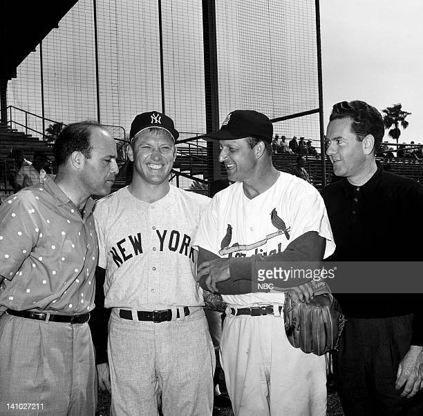 NBC Sports' Joe Garagiola New York Yankees' Mickey Mantle St Louis Cardinals' Stan Musial NBC Sports' Bob Wolff during Spring training at Progress...