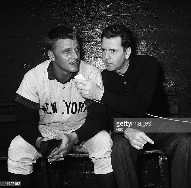 New York Yankee's Roger Maris NBC Sports' Bob Wolff during Spring training at Progress Energy Park in St Petersburg Florida in April 1962 Photo by...