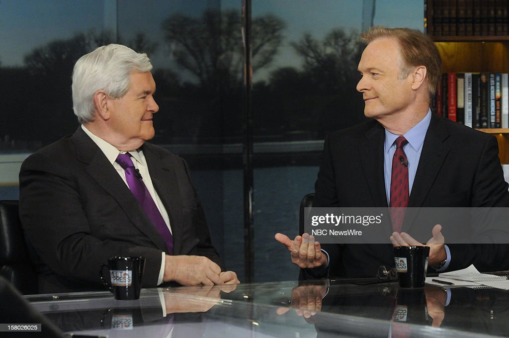 "– Newt Gingrich, Former Speaker of the House, left, and Lawrence O'Donnell, Host, MSNBC's ""The Last Word with Lawrence O'Donnell"" right, appear on 'Meet the Press' in Washington D.C., Sunday, Dec. 9, 2012."