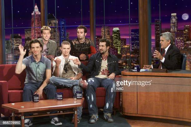 NSYNC Members JC Chasez Lance Bass Justin Timberlake Chris Kirpatrick and Joey Fatone during an interview with Host Jay Leno on July 23th 2001