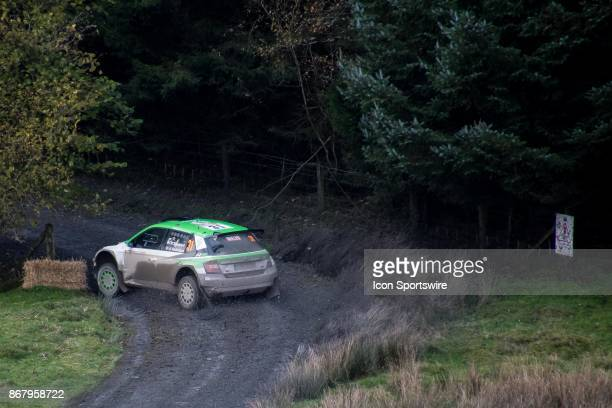 Pictured nudging a hay bale is Rally WRC2 Leader Pontus Tidemand and codriver Jonas Andersson of Skoda Motorsport compete during the Lake Brenig...