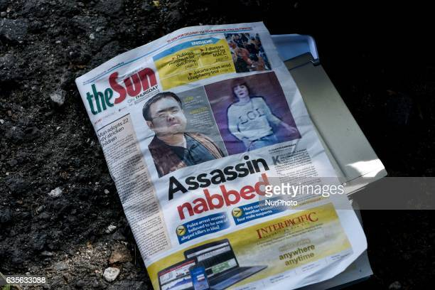 Pictured of Malaysian newpaper story about Kim Jongnam's murder case at outside of Institute of Forensic Medicine of Kuala Lumpur Hospital on...