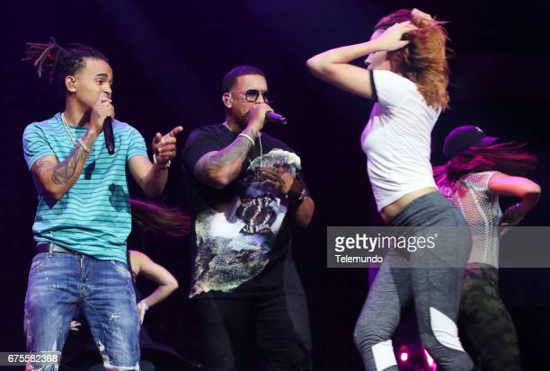 Ozuna and Daddy Yankee perform during rehearsals at the Watsco Center in the University of Miami Coral Gables Florida on April 25 2017