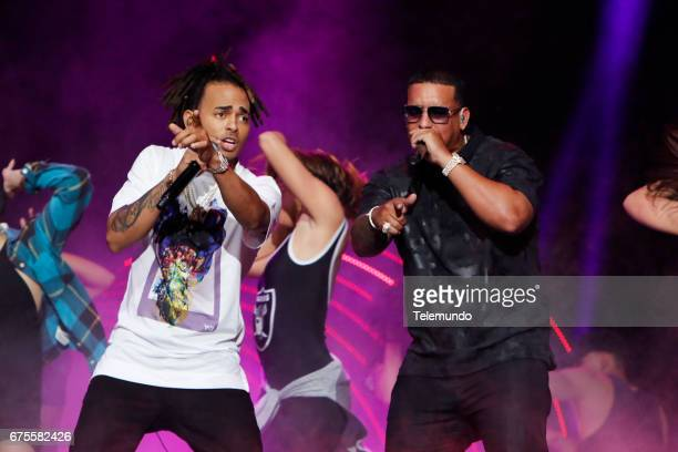 Ozuna and Daddy Yankee perform during rehearsals at the Watsco Center in the University of Miami Coral Gables Florida on April 26 2017