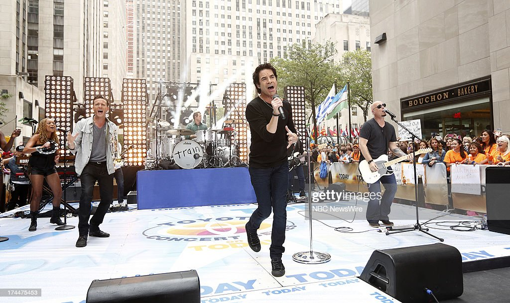Pat Monahan and <a gi-track='captionPersonalityLinkClicked' href=/galleries/search?phrase=Jimmy+Stafford&family=editorial&specificpeople=750178 ng-click='$event.stopPropagation()'>Jimmy Stafford</a> of the music group Train appear on NBC News' 'Today' show --