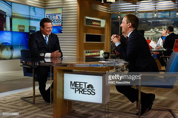Paul Manafort Convention Manager Trump Campaign left and moderator Chuck Todd right appear on 'Meet the Press' in Washington DC Sunday April 10 2016