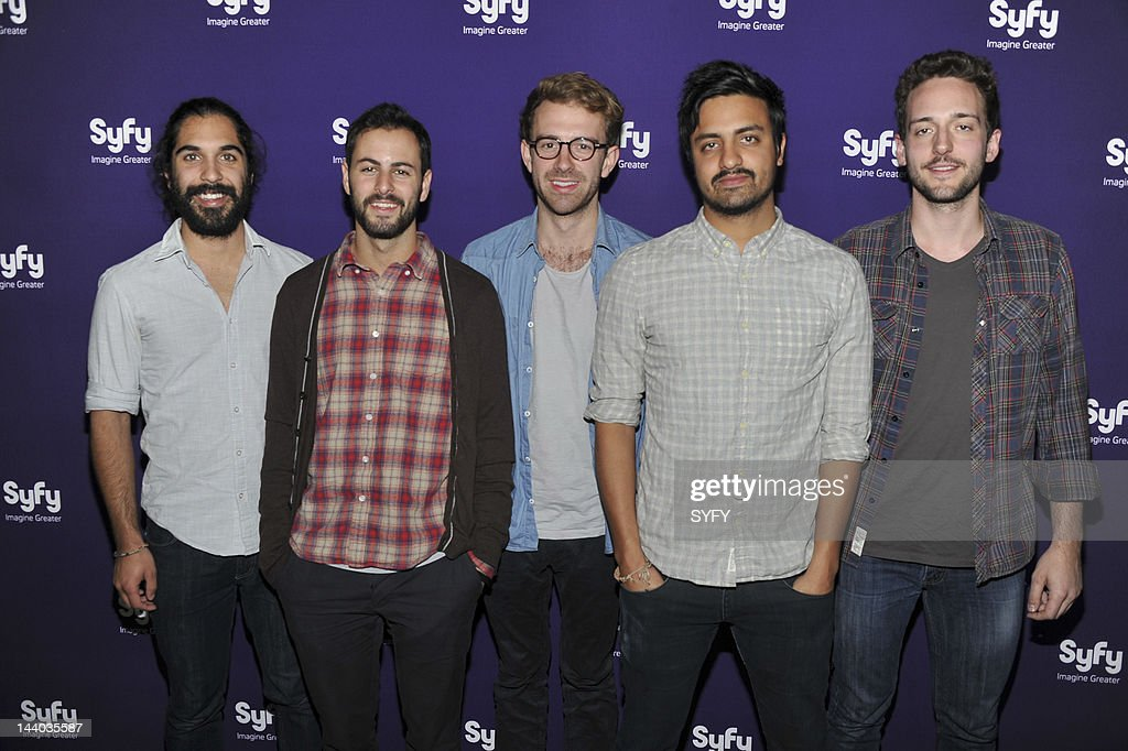 Payam Doostzadeh, Eric Cannata, Jacob Tilley, Sameer Gadhia, and Francois Comtois of Young The Giant arrive at 'Syfy Upfront 2012 at the American Museum of Natural History in New York City on April 24, 2012' --