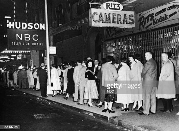People waiting in line to see Tonight with Steve Allen