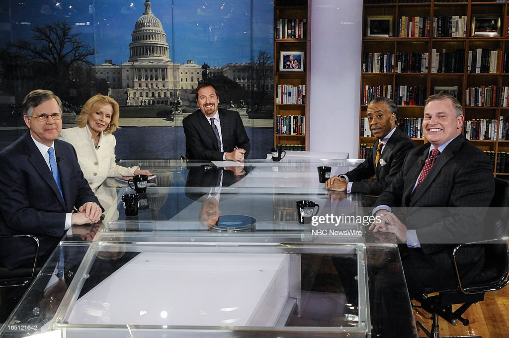 "– Pete Williams, NBC News Justice Correspondent, Peggy Noonan, Columnist, The Wall Street Journal, moderator Chuck Todd, Rev. Al Sharpton, Host, MSNBC's ""PoliticsNation' and Brian Brown, President, National Organization for Marriage, appear on 'Meet the Press' in Washington, D.C., Sunday, March 31, 2013."
