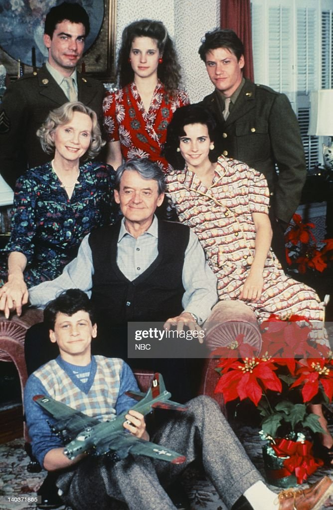I'LL BE HOME FOR CHRISTMAS -- Pictured: (top left clockwise) Peter Gallagher as Aaron Copler, Nancy Travis as Leah Bundy, Jason Oliver as Terrel Bundy, Courteney Cox as Nora Bundy, David Moscow as Davey Bundy, Hal Holbrook as Joseph Bundy, Eva Marie Saint as Martha Bundy -- Photo by: NBC/NBCU Photo Bank