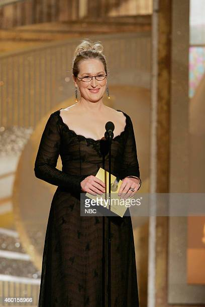 Presenter Meryl Streep speaks on stage at the 62nd Annual Golden Globe Awards held at the Beverly Hilton Hotel on January 16 2005