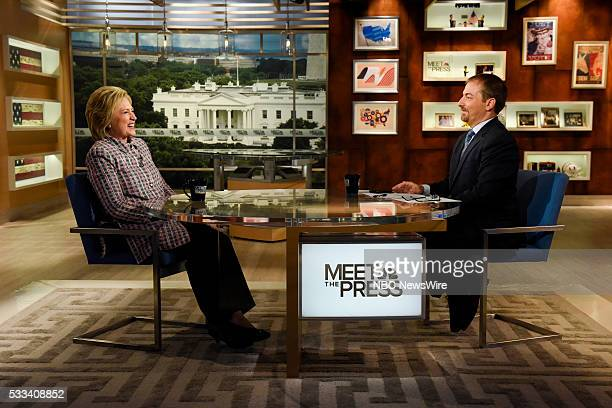Presidential Candidate Former Sec Hillary Clinton left and moderator Chuck Todd right appear in a pretaped interview on 'Meet the Press' in...