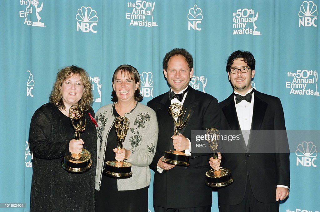 Producers Barbara Gaines, Maria Pope, Rob Burnett, Jon Beckerman winners of Outstanding Variety, Music or Comedy Series for 'Late Show with David Letterman' during the 50th Annual Primetime Emmy Awards held at the Shrine Auditorium in Los Angeles, CA on September 13, 1998 --