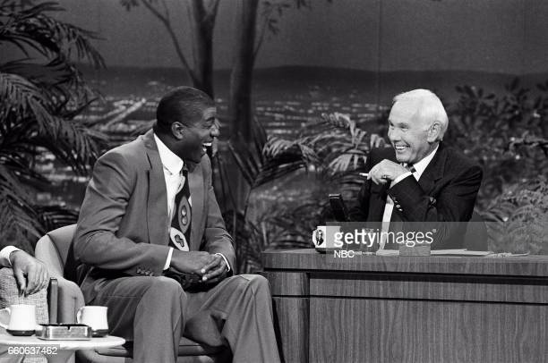 Professional basketball player Magic Johnson during an interview with guest host Johnny Carson on July 17 1991