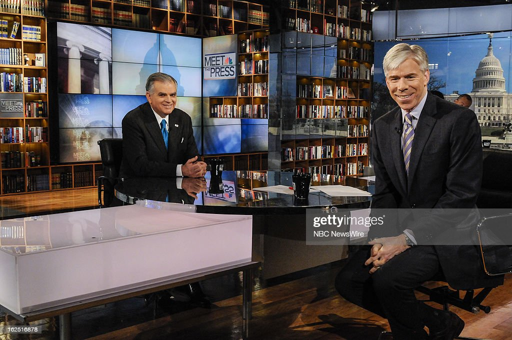 – Ray LaHood, Secretary of Transportation, left, and moderator David Gregory, right, appear on 'Meet the Press' in Washington D.C., Sunday, Feb. 24, 2013.