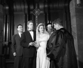 Real life couple contestants getting married on 'Bride and Groom' in 1953