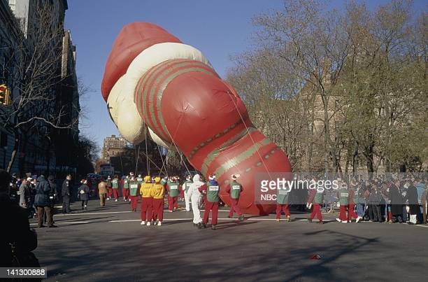 Rear view of a balloon as it turns a corner of the parade route during the 1997 Macy's Thanksgiving Day Parade Photo by NBCU Photo Bank