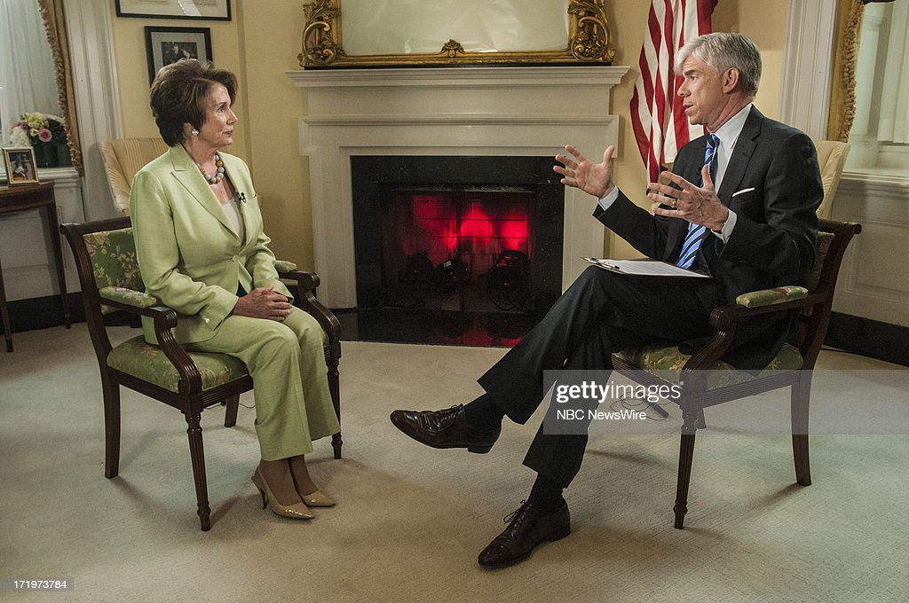 Rep. Nancy Pelosi (D-CA,) left, and moderator David Gregory, right, appear in a pre taped interview on 'Meet the Press' in Washington, D.C., Friday, June 28, 2013.