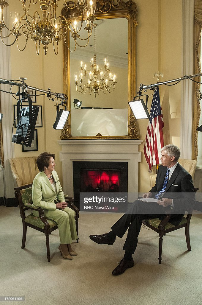 ? Rep. Nancy Pelosi (D-CA,) left, and moderator David Gregory, right, appear in a pre taped interview on 'Meet the Press' in Washington, D.C., Friday, June 28, 2013.