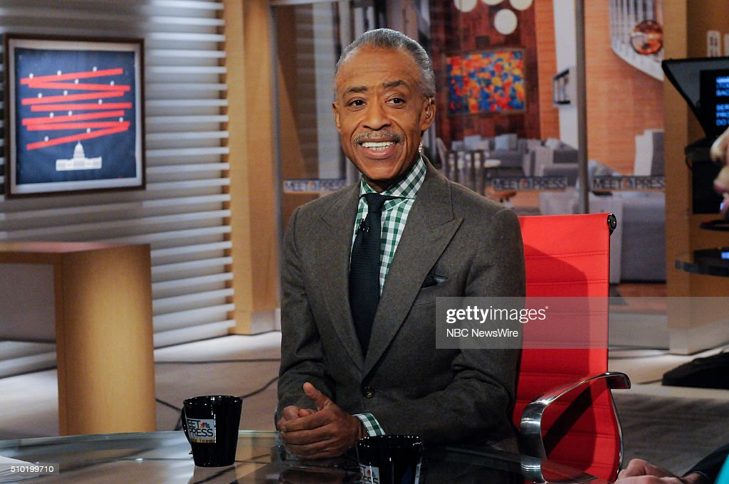 Rev. Al Sharpton, Host, MSNBCs Politics Nation; Founder & President, National Action Network (NAN) appears on 'Meet the Press' in Washington, D.C., Sunday Feb. 14, 2016.