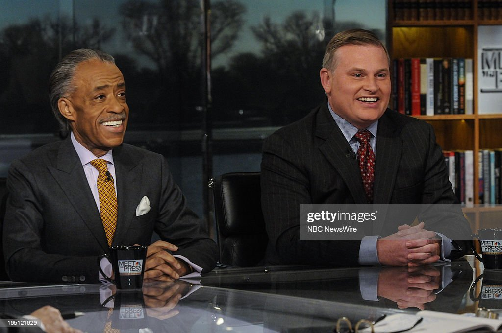 "– Rev. Al Sharpton, Host, MSNBC's ""PoliticsNation.' left, and Brian Brown, President, National Organization for Marriage, right, appear on 'Meet the Press' in Washington, D.C., Sunday, March 31, 2013."