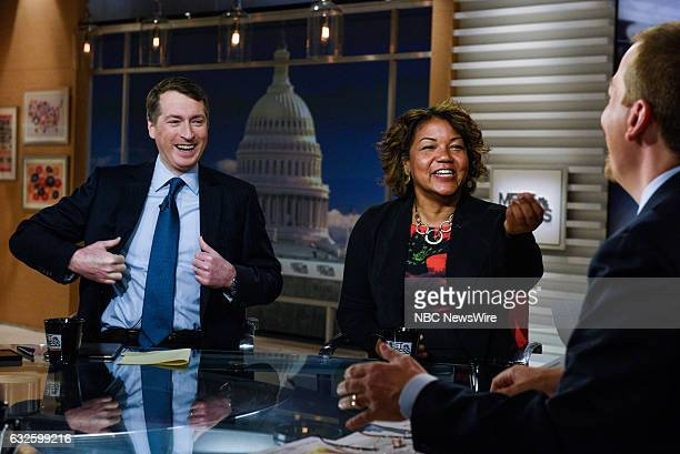 –Rich Lowry Editor National Review Helene Cooper Pentagon Correspondent The New York Times and moderator Chuck Todd appear on 'Meet the Press' in...