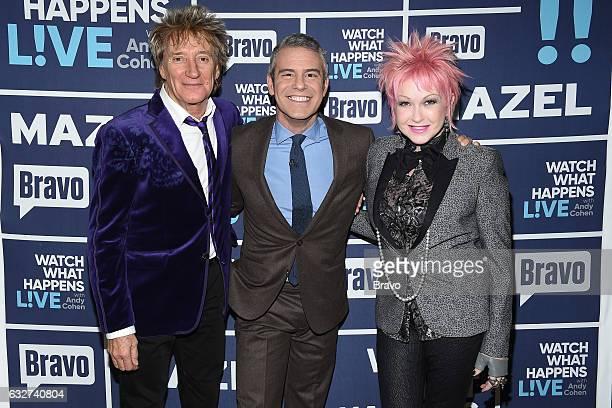 Rod Stewart Andy Cohen and Cyndi Lauper