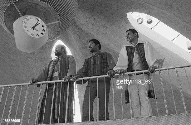 Ron Townson Billy Davis Jr and Lamonte McLemore of The Fifth Dimension during video shoot for 'Aquarius/Let the Sunshine In' during a special...
