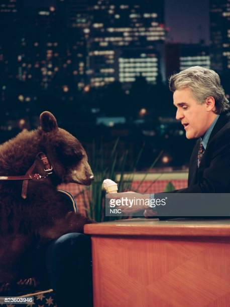 Ruthie the bear with host Jay Leno on February 26 1999