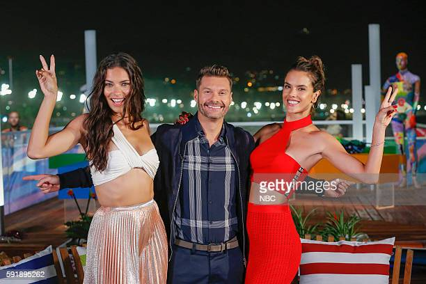 Ryan Seacrest poses with models Adriana Lima and Alessandra Ambrosio on August 8 2016