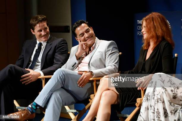 Sam Jaeger Carlos Gomez Lolita Davidovich at PaleyFest with the cast and producers of Law Order True Crime The Menendez Murders at the Paley Center...