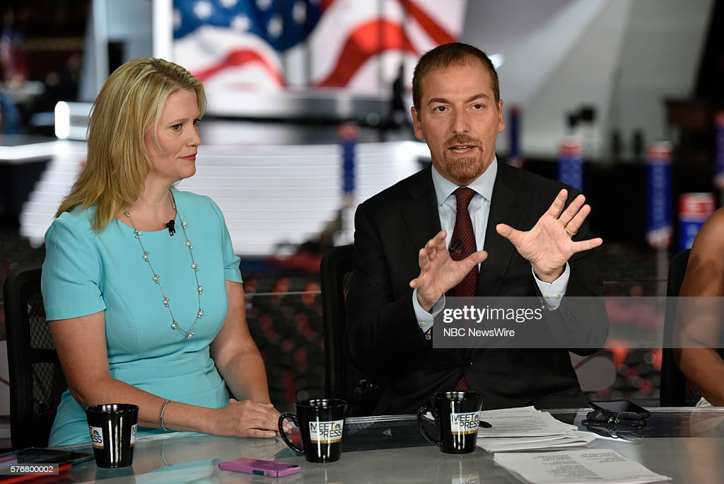 Sara Fagen GOP Political Strategist right Moderator Chuck Todd appear on 'Meet the Press' in Cleveland OH Sunday July 17 2016