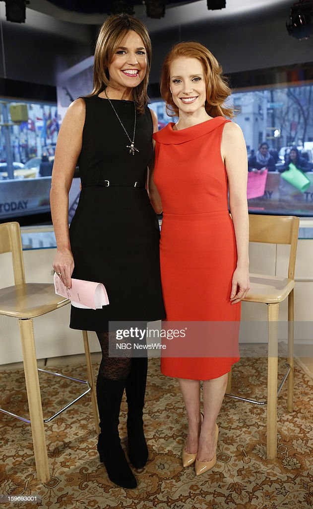 <a gi-track='captionPersonalityLinkClicked' href=/galleries/search?phrase=Savannah+Guthrie&family=editorial&specificpeople=653313 ng-click='$event.stopPropagation()'>Savannah Guthrie</a> and <a gi-track='captionPersonalityLinkClicked' href=/galleries/search?phrase=Jessica+Chastain&family=editorial&specificpeople=653192 ng-click='$event.stopPropagation()'>Jessica Chastain</a> appear on NBC News' 'Today' show --
