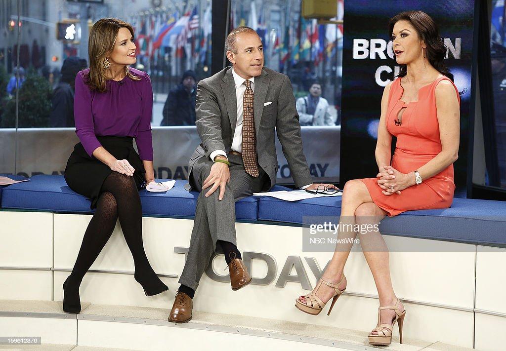 Savannah Guthrie, Matt Lauer and Catherine Zeta-Jones appear on NBC News' 'Today' show --