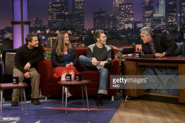Sean and Sara Watkins with Chris Thile from Group Nickel Creek during an interview with Host Jay Leno on June 27th 2001