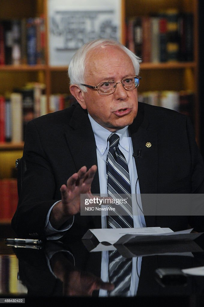 Sen. <a gi-track='captionPersonalityLinkClicked' href=/galleries/search?phrase=Bernie+Sanders&family=editorial&specificpeople=2908340 ng-click='$event.stopPropagation()'>Bernie Sanders</a> (I-VT) left, and Moderator Chuck Todd, right, appear on 'Meet the Press' in Washington, D.C., Sunday, Sept. 14, 2014.